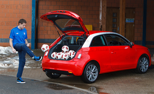 James Beattie with a new Audi A1 as fans can win the car if they can kick a ball in to the boot from the half way line.