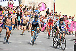 The breakaway group led by Victor Campenaerts (BEL) Lotto Fix All with Davide Ballerini (ITA) Androni Giocattoli and Guy Niv (ISR) Israel Cycling Academy in action during Stage 2 of the 101st edition of the Giro d'Italia 2018 running 167km from Haifa to Tel Aviv, Israel. 5th May 2018.<br /> Picture: LaPresse/Fabio Ferrari | Cyclefile<br /> <br /> <br /> All photos usage must carry mandatory copyright credit (&copy; Cyclefile | LaPresse/Fabio Ferrari)