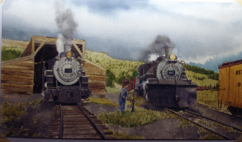 John Coker painting of D&amp;RGW #484 and #487 at Cumbres west wye switch.  Snowshed in rear.<br /> D&amp;RGW  Cumbres, CO  Taken by Coker, John (Artist)