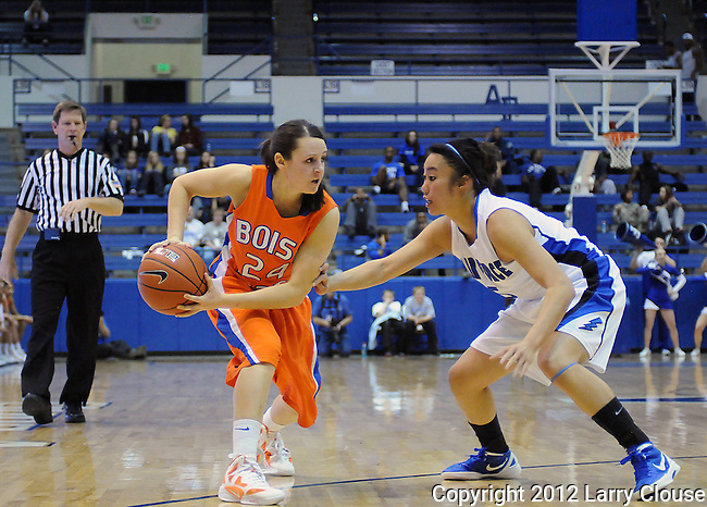 January 14, 2012:  Boise State guard, Kati Isham (24), in action during a Mountain West Conference match-up between the Boise State Broncos and the Air Force Academy Falcons at Clune Arena, U.S. Air Force Academy, Colorado Springs, CO.  Boise State defeats Air Force 81-75.