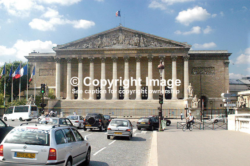 National Assembly, Paris, France, photographed from the Pont de la Concorde. Ref: 200306061961..Copyright Image from Victor Patterson, 54 Dorchester Park, Belfast, UK, BT9 6RJ..Tel: +44 28 9066 1296.Mob: +44 7802 353836.Voicemail +44 20 8816 7153.Skype: victorpattersonbelfast.Email: victorpatterson@mac.com.Email: victorpatterson@ireland.com (back-up)..IMPORTANT: If you wish to use this image or any other of my images please go to www.victorpatterson.com and click on the Terms & Conditions. Then contact me by email or phone with the reference number(s) of the image(s) concerned.