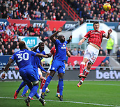 4th November 2017, Ashton Gate, Bristol, England; EFL Championship football, Bristol City versus Cardiff City; Milan Duric of Bristol City gets to the ball but is unable to control his header