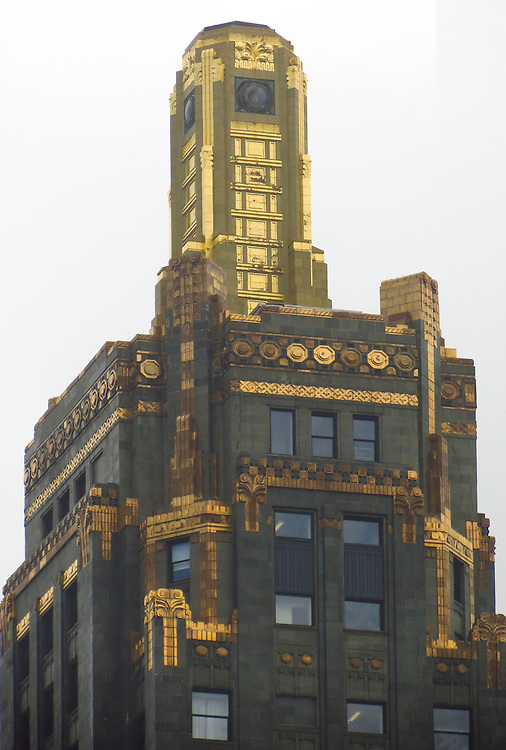 The Carbide and Carbon Building, as seen on the Chicago Architecture Foundation's river cruise. The Carbide & Carbon Building is a Chicago landmark located at 230 N. Michigan Avenue. The building, which was built in 1929, is an example of Art Deco architecture designed by Daniel and Hubert Burnham, sons of architect Daniel Burnham, and was designated a Chicago Landmark on May 9, 1996. Originally built as a high-rise office tower, the Carbide & Carbon Building was converted in 2004 to the Hard Rock Hotel Chicago. The building has 37 floors and is 503 feet tall. (DePaul University/Jamie Moncrief)