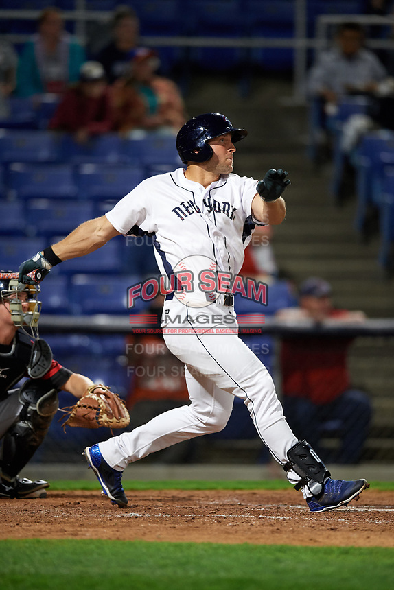 Binghamton Mets left fielder Tim Tebow (15) hits a three run home run to tie the game in the bottom of the sixth inning a game against the Erie SeaWolves on May 14, 2018 at NYSEG Stadium in Binghamton, New York.  Binghamton defeated Erie 6-5.  (Mike Janes/Four Seam Images)