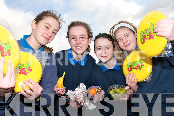 HEALTHY EATING: Taking part in the Food Dudes programme at Currow National School on Thursday last were Marie Brosnan, Sinead Griffin, Louise O'Mahony and Rheanne Gallagher.   Copyright Kerry's Eye 2008