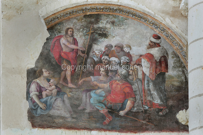 Christ holding a cross with his followers in a garden, abbey church of Fontevraud Abbey, Fontevraud-l'Abbaye, Loire Valley, Maine-et-Loire, France. This is a 17th century fresco from the nave of the Romanesque abbey church, built 1105-60. The abbey was founded in 1100 by Robert of Arbrissel, who created the Order of Fontevraud. It was a double monastery for monks and nuns, run by an abbess. The order was dissolved during the French Revolution and the building subsequently used as a prison. Picture by Manuel Cohen