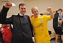 AYR UNITED MANAGER BRIAN REID AND GOAL HERO CHRIS SMITH