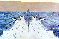 Burnham Plan:  Chicago--View looking west. Proposed Civic Center Plaza and Buildings. Painting by Jules Guerin.