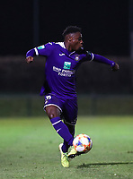 20191125 - WOLVERTEM: Anderlecht's Jeremy Doku controls the ball during the Belgian Elite U21 league football match between RSC Anderlecht U21 and KV Mechelen U21 on Monday 25th of November 2019 at F. Lathouwersstadion, Wolvertem Belgium. PHOTO: SEVIL OKTEM | SPORTPIX.BE