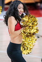 COLLEGE PARK, MD - DECEMBER 8: Maryland cheerleader performs during a time-out during a game between Loyola University and University of Maryland at Xfinity Center on December 8, 2019 in College Park, Maryland.