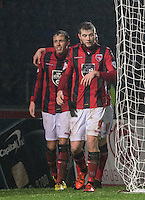 Celebrations as Jamie Devitt (left) of Morecambe scores during the Sky Bet League 2 match between Wycombe Wanderers and Morecambe at Adams Park, High Wycombe, England on 2 January 2016. Photo by Andy Rowland / PRiME Media Images
