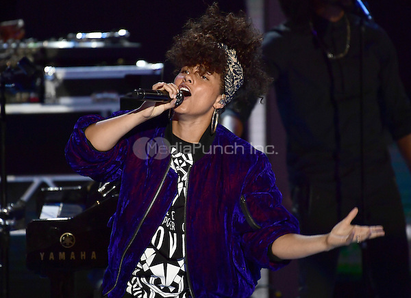 Alicia Keys performs during the second session of the 2016 Democratic National Convention at the Wells Fargo Center in Philadelphia, Pennsylvania on Tuesday, July 26, 2016.<br /> Credit: Ron Sachs / CNP/MediaPunch<br /> (RESTRICTION: NO New York or New Jersey Newspapers or newspapers within a 75 mile radius of New York City)