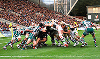 Leicester, England. Harlequins push towards the line  during the Aviva Premiership match between Leicester Tigers and Harlequins at Welford Road on September 22, 2012 in Leicester, England.