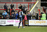 Wycombe Wanderers fands applaude team off pitch end of game<br /> <br /> during the Sky Bet League 2 match between Accrington Stanley and Wycombe Wanderers at the Wham Stadium, Accrington, England on 16 March 2016. Photo by Tony (KIPAX) Greenwood / PRiME Media Images.