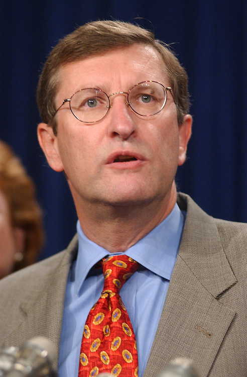 Conrad080301 - Sen. Kent Conrad, D-N.D., speaks about Agricultural Supplimental Authorization Bill in the Senate Studio, Friday afternoon.