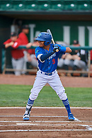 Jeremy Arocho (8) of the Ogden Raptors bats against the Great Falls Voyagers at Lindquist Field on August 21, 2018 in Ogden, Utah. Great Falls defeated Ogden 14-5. (Stephen Smith/Four Seam Images)