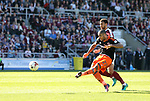 Sheffield United's Leon Clarke scoring his sides opening goal during the League One match at the Sixfields Stadium, Northampton. Picture date: April 8th, 2017. Pic David Klein/Sportimage