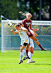 19 September 2010: University of Vermont Catamount defender Megan Rozumalski, a Sophomore from Middleburgh, NY, in action against Colgate University Raider Sarah Henderson, a Sophomore from Rochester, NY, at Centennial Field in Burlington, Vermont. The Raiders scored a pair of second half goals two minutes apart to notch a 2-0 victory over the Lady Cats in non-conference women's soccer play. Mandatory Credit: Ed Wolfstein Photo