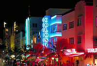 Ocean Drive at night from roof of TV satellite truck. Ocean Drive, Miami Beach FL USA.