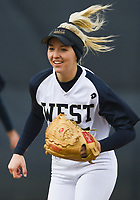 (DO NOT USE) NWA Democrat-Gazette/CHARLIE KAIJO Bentonville West High School Emma Wood (5) runs during a softball game, Thursday, March 13, 2019 at Bentonville West High School in Centerton.