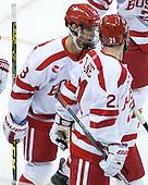Ryan Cloonan (BU - 8), Matt Lane (BU - 21) - The Boston University Terriers defeated the visiting University of Connecticut Huskies 4-2 (EN) on Saturday, October 24, 2015, at Agganis Arena in Boston, Massachusetts.