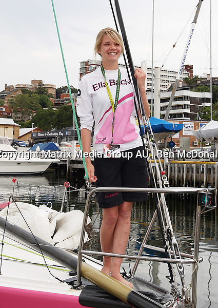22.11.2012 SYDNEY AUSTRALIA<br /> <br /> Young Australian of The Year Jessica Watson pictured with her crew at Rushcutter's Bay Cruising Yacht Club prior to a training run in preparation for the Sydney to Hobart Yacht Race. Jessica is competing in her first Sydney to Hobart Race.