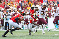 College Park, MD - September 22, 2018: Minnesota Golden Gophers wide receiver Chris Autman-Bell (3) catches a pass during the game between Minnesota and Maryland at  Capital One Field at Maryland Stadium in College Park, MD.  (Photo by Elliott Brown/Media Images International)