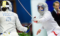 27 FEB 2011 - LONDON, GBR - Poland's Malgorzata Kozaczuk during the bronze medal decider at fencing's England Cup team sabre tournament at the National Sports Centre at Crystal Palace .(PHOTO (C) NIGEL FARROW)