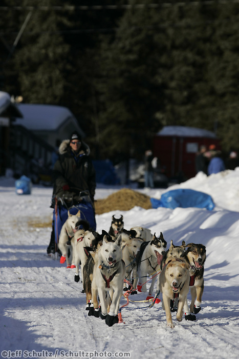 Harmony Barron at the Anvik checkpoint.  2005 Iditarod Trail Sled Dog Race.