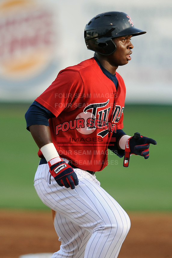 Elizabethton Twins third baseman Miguel Sano #11 runs the bases during a game against the Bluefield Blue Jays at Joe O'Brien Field on June 21, 2011 in Elizabethton, Tennessee.  The game was delayed with the score 5-5.  (Tony Farlow/Four Seam Images)