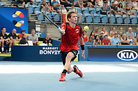 10th January 2020; Sydney Olympic Park Tennis Centre, Sydney, New South Wales, Australia; ATP Cup Australia, Sydney, Day 8; Belgium versus Spain; Kimmer Coppejans of Belgium versus Roberto Bautista Agut of Spain; Kimmer Coppejans of Belgium hits a forehand return to Roberto Bautista Agut of Spain - Editorial Use