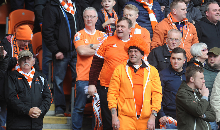 Blackpool fans watch their team in action <br /> <br /> Photographer Kevin Barnes/CameraSport<br /> <br /> The EFL Sky Bet League One - Blackpool v Southend United - Saturday 9th March 2019 - Bloomfield Road - Blackpool<br /> <br /> World Copyright © 2019 CameraSport. All rights reserved. 43 Linden Ave. Countesthorpe. Leicester. England. LE8 5PG - Tel: +44 (0) 116 277 4147 - admin@camerasport.com - www.camerasport.com
