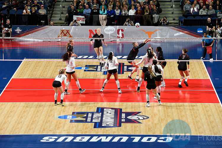 COLUMBUS, OH - DECEMBER 17:  Merete Lutz (17) of Stanford University hits a dig against the University of Texas during the Division I Women's Volleyball Championship held at Nationwide Arena on December 17, 2016 in Columbus, Ohio.  Stanford defeated Texas 3-1 to win the national title. (Photo by Jamie Schwaberow/NCAA Photos via Getty Images)