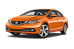 Stock pictures of low aggressive front three quarter view of a 2015 Honda Civic Si 4 Door Sedan