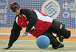 Amy Alsop of Regina blocks a shot in goalball action against Brazil at the Paralympic Games in Beijing, Monday, Sept., 8, 2008.  Photo by Mike Ridewood/CPC
