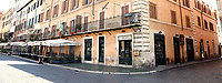 Restaurants and souvenir shops closed in a Piazza Navona empty<br /> Rome March 12th 2020. Rome the day after the last Coronavirus decree, that increase the restrictions of the march 9th decree. All the shops, bars, restaurants and pubs will have to stay close, apart for the ones of public utility as pharmacies, supermarkets and tobacco stores. People are requested to stay at home and go out just to buy food or medicines. In city centre, police officers warn the few tourists and passers to stay into the hotels or at home and to get out just to find food. <br /> Photo Samantha Zucchi Insidefoto