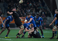 NZ's Scott Barrett strips the ball from France's Felix Lambey during the Steinlager Series international rugby match between the New Zealand All Blacks and France at Forsyth Barr Stadium in Wellington, New Zealand on Saturday, 23 June 2018. Photo: Dave Lintott / lintottphoto.co.nz