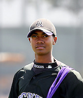 Johendi Jiminian, Colorado Rockies 2010 minor league spring training..Photo by:  Bill Mitchell/Four Seam Images.