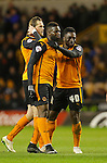 Bakary Sako of Wolves (centre) celebrates his first goal with Richard Stearman and Nouha Dicko - Football - Sky Bet Championship - Wolverhampton Wanderers vs Fulham - Season 2014/15 - 24th February 2015 - Photo Malcolm Couzens/Sportimage