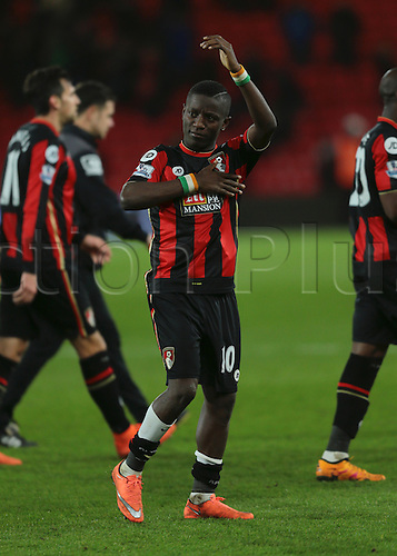 01.03.2016. Vitality Stadium, Bournemouth, England. Barclays Premier League. Bournemouth versus Southampton. Bournemouth Forward Max Gradel pats his heart to the fans at full time