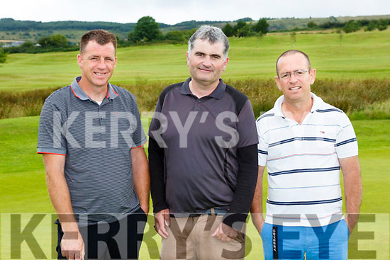 Johnny Kennelly, Seamus O'Brien and Richy McCarthy enjoying the Captains Drive in Castleisland Golf Course on Sunday