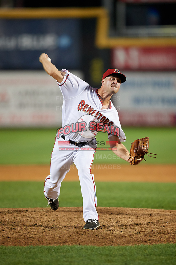 Harrisburg Senators relief pitcher Dakota Bacus (35) delivers a pitch during a game against the Erie SeaWolves on August 29, 2018 at FNB Field in Harrisburg, Pennsylvania.  Harrisburg defeated Erie 5-4.  (Mike Janes/Four Seam Images)