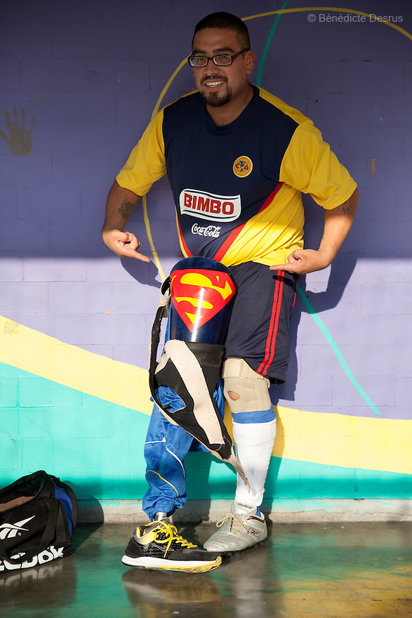 """Jose Luis Almaraz Mendoza, 32, a player from Guerreros Aztecas, portrayed during a training in Mexico City, Mexico on June 12, 2014. Jose Luis was washing the windows of his home when he fell 3 meters and lost his right leg. Guerreros Aztecas (""""Aztec Warriors"""") is Mexico City's first amputee football team. Founded in July 2013 by five volunteers, they now have 23 players, seven of them have made the national team's shortlist to represent Mexico at this year's Amputee Soccer World Cup in Sinaloathis December.The team trains twice a week for weekend games with other teams. No prostheses are used, so field players missing a lower extremity can only play using crutches. Those missing an upper extremity play as goalkeepers. The teams play six per side with unlimited substitutions. Each half lasts 25 minutes. The causes of the amputations range from accidents to medical interventions – none of which have stopped the Guerreros Aztecas from continuing to play. The players' age, backgrounds and professions cover the full sweep of Mexican society, and they are united by the will to keep their heads held high in a country where discrimination against the disabled remains widespread.(Photo byBénédicte Desrus)"""