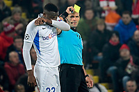 LIVERPOOL, GREAT BRITAN - NOVEMBER 5 :  referee Ivan Kruzliak shows a yellow card to Jhon Lucumi defender of Genk during the UEFA Champions League match between Liverpool FC and KRC Genk on November 05, 2019 in Liverpool, Great Britan, 5/11/2019 <br /> Liverpool 5-11-2019 Anfield <br /> Liverpool - Genk <br /> Champions League 2019/2020<br /> Foto Photonews / Panoramic / Insidefoto <br /> Italy Only