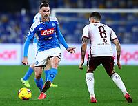 29th February 2020; Stadio San Paolo, Naples, Campania, Italy; Serie A Football, Napoli versus Torino; Fabian Ruiz of Napoli plays the ball away from Baselli of Torino in a no look