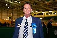 Pictured: Tory candidate is the former Mayor and leader of Newport City council Matthew Evans during the Newport West by-election ballot count at the Geraint Thomas National Velodrome of Wales in Newport, South Wales, UK. <br /> Thursday 04 April 2019<br /> Re: Voters in Newport West are going to the polls to elect a new member of Parliament.<br /> The seat in south east Wales became vacant following the death of Paul Flynn earlier in February.
