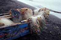 Fishing boat and nets on Isla de Ometepe, Nicaragua