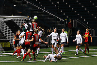 Rochester, NY - Friday April 29, 2016: Washington Spirit goalkeeper Stephanie Labbe (1) attempts to punch the ball clear as Washington Spirit forward Cheyna Williams (20) and Western New York Flash midfielder Alanna Kennedy (8) go up for a header. The Washington Spirit defeated the Western New York Flash 3-0 during a National Women's Soccer League (NWSL) match at Sahlen's Stadium.