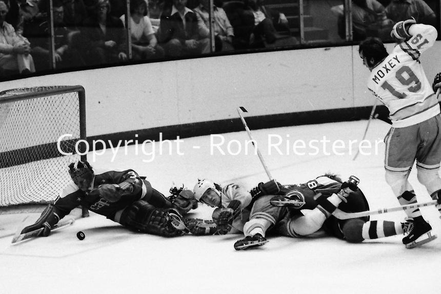 Seals vs Washington Capitols 1975. Washington goalie Michel Belhumeur tries for save. (photo by Ron Riesterer)