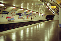Paris Metro at Filles du Calvaire staition, empty platform. Paris, France.
